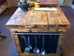 Kitchen island centre piece reclaimed solid timber tops fully protected
