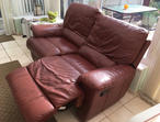 Manual 2 seater reclining leather sofa