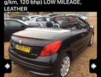 Peugeot 207, 2009 (09) Black Convertible, Manual Petrol, 49,000 miles