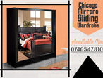 BRAND NEW STYLISH CHICAGO 2 DOOR MIRRORS SLIDING BLACK COLOR WARDROBE WITH LED LIGHT IN 150CM SIZE, ALSO AVAILABLE IN WHITE,GREY,OAK,WALNUT,WENGE COLO