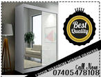 BRAND NEW HIGH GLOSS DOUBLE DOOR SLIDING WARDROBE WITH MIRROR IN WHITE COLOR & 200CM,ALSO AVAILABLE IN BLACK COLOR, 150CM