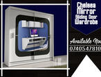 Brand New Stylish Chelsea Mirror Sliding Wardrobe in Black/White Color, 203cm Size