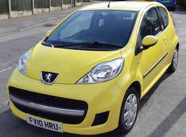 Peugeot 107, 2010 (10) Yellow Hatchback, Manual Petrol, 120,000 miles