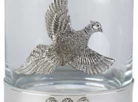 Pewter Whisky Glass With Pheasant Motif Perfect Christmas Present