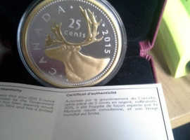 2015 CANADIAN SILVER/GOLD CARIBOU COIN 5oz,(Big coin series),25 cents face