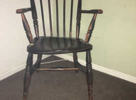 Windsor stick back chair lovely patina just needs a bit ov tlc it belonged to Noah Higley titanic anchor maker whose home we demolished last year a sm