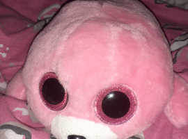 A  ty pink teddy with glitter eyes