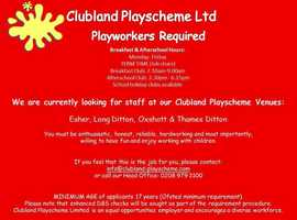 Breakfast and after school playworkers required locally