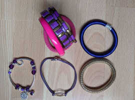 JOB LOT 9 COSTUME JEWELLERY BRACELETS BANGLES + 6 PAIRS EARRINGS GOOD CONDITION