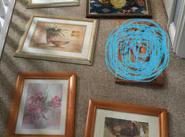 Tapestry and glass framed photos