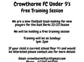 FREE TRAINING SESSIONS FOR UNDER 9'S