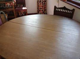 Round teak Mackintosh extending table