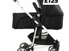 Black squiggles design pram and pushchair with raincover