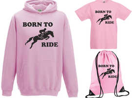 Boys Girls Kids Born To Ride Hoody+TShirt+Gymsac Gift Set Horse Jumping Riding