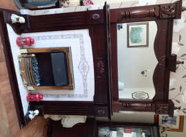 Mahogany electric fireplace with mirror