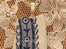 Ceramic reclaimed pottery handmade necklace