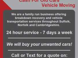 Vehicle Recovery / We Buy Any Car / Car Transport / Towing / Breakdown / Move Car / Scrap Car / Junk Car - Suffolk, Cambridgeshire & Norfolk