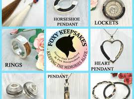 Horse hair jewellery and keepsakes