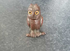 RARE Antique Solid Brass Owl