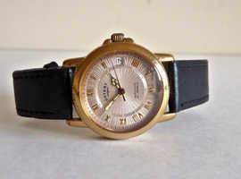 Men's Classic Rotary 21 Jewel Automatic Calendar Crystal Back Watch.