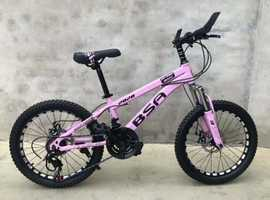 "BSA 20"" Wheel Unisex Mountain Bike in Pink and Black Color for Kids, 21 Speed, Front and Rear Disc"