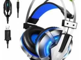 EKSA E800 GAMING HEADSET WITH ADJUSTABLE NOISE CANCELLING MIC AND LED LIGHT (BLUE)