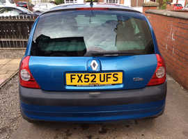 Renault Clio, 2002 , Blue Hatchback, Manual Petrol, 64,500 miles