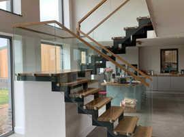 Bespoke Modern Metal Staircase - Steel & Glass Staircase Balustrades.
