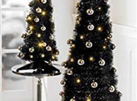 90 CM 3ft Black Pop Up Christmas Tree Brand New