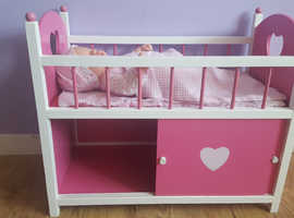 Dolls wooden bed with bedding and  storage