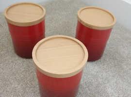 3 - Le Creuset Stoneware Storage Jar, Cerise PERFECT Condition