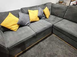 DFS gret fabric corner sofa