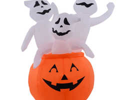 COSTWAY 1.2m Inflatable Pumpkin with 3 Ghosts (CM19920)