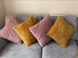 2 sets of large chenile textured fabric cushions £10 per pair