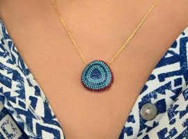 Boho Betty Tanqueray Gold CZ Blue Beaded Necklace