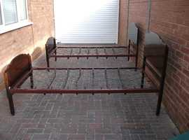 Elegant single bed(s) 6ft x3ft metal frames (coiled sprung) real wood head and footboard