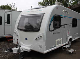 Bailey Pursuit 430-4 2014 4 Berth Fixed Bed Caravan + Motor Movers + Large Porch Awning + Light Towing Weight
