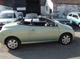 Nissan MICRA LS, 2005 (05) green convertible, Manual Petrol, 57000 miles