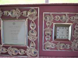 Past Times Mackintosh Silver Plated Matching Clock and Frame Set (New and Gift Boxed)