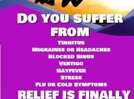 Do you suffer from tinnitus, migraine, blocked ears or sinus, vertigo, hayfever, stress or cold symptoms?