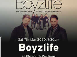 2 x 2nd row centre stage Boyzlife tickets 7th march Plymouth Pavilions