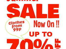 Last Day Saturday 17th August 99p Clothes from 99p Summer Sale  &  Autumn Stock Now Available