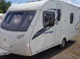2010 FIXED  BED SWIFT STERLING EUROPA 470. VERY LIGHT CARAVAN - ONLY 1330KG MAXIMUM WEIGHT. TOP SPEC VAN. FULL AWNING. LOVELY CONDITION.