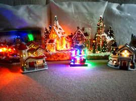 Bargain illuminated christmas village houses and figurines