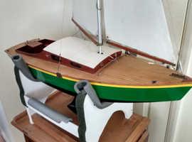Model wooden yacht. Beautiful hand built wooden yacht