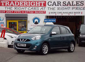 2013/63 Nissan Micra 1.2 Acenta Nav finished in Turquoise Blue Metallic., 30,232 miles