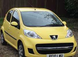 Peugeot 107, 2010 (10) Yellow Hatchback, Manual Petrol, 52,000 miles