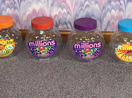 4 collectable Millions sweet jars from the 1990's