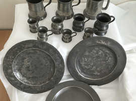 3 Pewter Plates and Various Sized Tankards