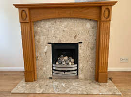 Wooden fire surround, marble insert and hearth